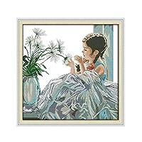 クロスステッチキットDIY刺繍セット ホームデコレーション芸術、工芸&裁縫クロスステッチ - 美少女51x51cm(フレームレス)