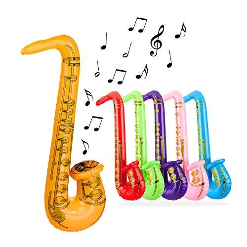 Relaxdays 10024269 opblaasbare saxofon, luchtinstrument, grappig kostuumaccessoire, speelgoedinstrument, 69 cm, PVC, verschillende kleuren, 1 stuk