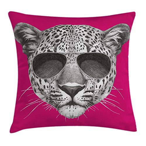 Moderna funda de cojín para cojín, leopardo inconformista con gafas de sol de aviador, retrato, ilustración de animal salvaje fresco, funda de almohada decorativa con acento cuadrado, gris magenta