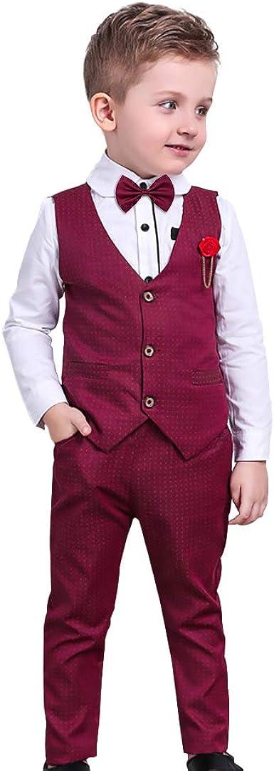 Nwada Trajes Niño Pequeño Ropa Bautizo para Vestir Disfraz Boda Conjunto Ceremonia Camisas y Pantalones y Chaleco y Pajarita 3 a 7 Años