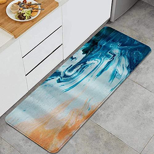 PATINISA Tappetini da Cucina,Arte astratta fantasia spiaggia di sabbia corallina e stampa di onde dell'oceano,Antiscivolo Zerbino Tappeto Cucina Passatoia Lavabile Tappeti tappetino 120x45cm