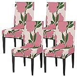 Juego de 4 fundas para sillas de comedor, con hojas florales, elásticas, fundas de silla lavables, protector de asiento extraíble para cocina, hotel, restaurante, fiesta ceremonia