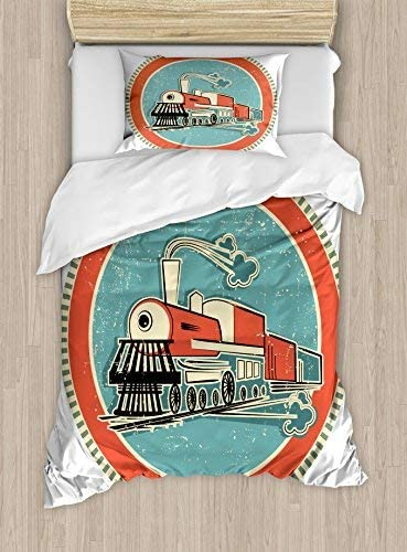Ambesonne Steam Engine Duvet Cover Vintage and Set Topics on TV Style Indianapolis Mall Orange