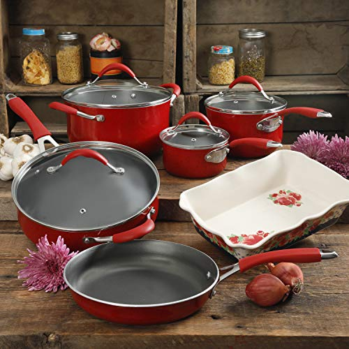 The Pioneer Woman Vintage Speckle 10-Piece Cookware Set, RED