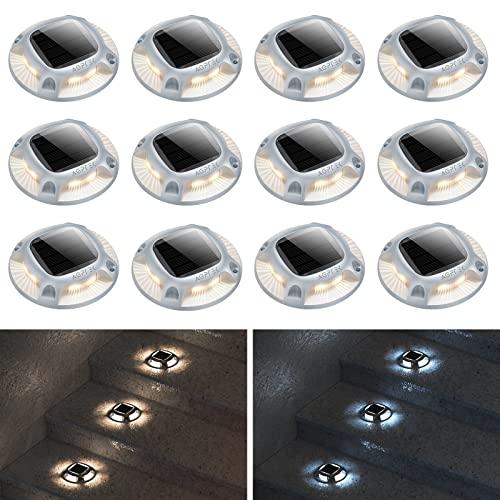 Solar Driveway Lights Outdoor, AGPTEK Solar Deck Lights 2...