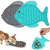 Bestomrogh 2 PCS Ciotola ad Alimentazione lenta Slow Food Lick Pad Fish-Shaped Slow Feeder Mangiatoia Labirinto Cibo e Acqua per CaniCibo per Cani e Gatto interattiva e Divertente