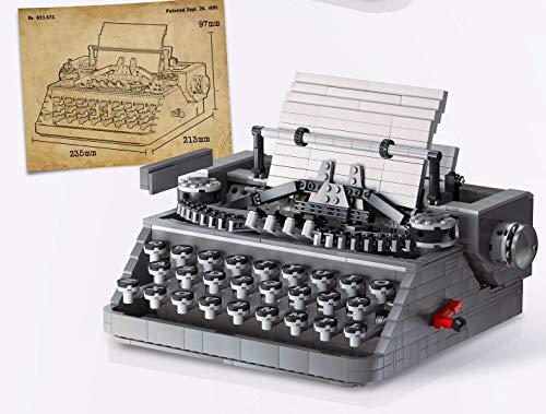 Morton3654Mam Set di 1503 pezzi per macchina da scrivere a mano, stile vintage, meccanico, per lavori fai da te, modello da collezione, giocattolo da costruzione, compatibile con Lego
