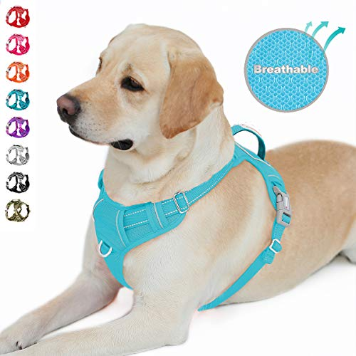 BARKBAY No Pull Dog Harness Front Clip Heavy Duty Reflective Easy Control Handle for Large Dog Walking with ID tag Pocket(Blue,L)