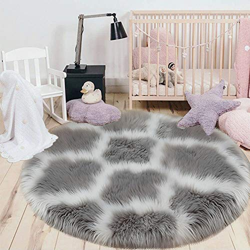 HEBE Faux Fur Rug Round Area Rugs 3 Ft Circle Carpet Shag Rug Indoor Ultra Soft Fluffy Area Throw Rug...