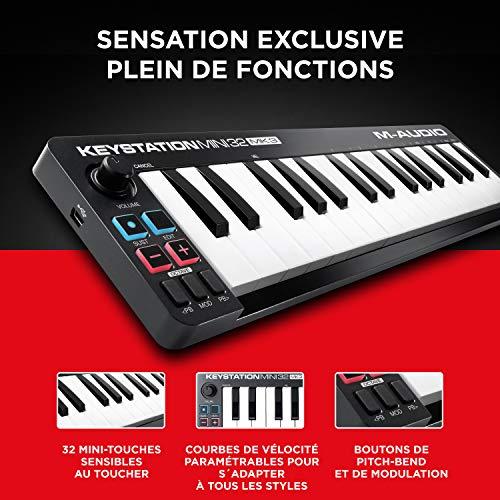 M-Audio Keystation Mini 32 MK3 - Clavier Maître Mini - USB/MIDI Ultra-Portable avec 32 Mini-Touches Sensibles au Toucher, ProTools First, M-Audio Edition et Xpand!2 par AIR Music Tech