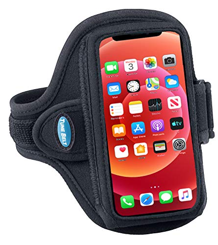 Tune Belt AB86.1 Cell Phone Armband Holder for iPhone 12 Mini and SE 2020 - Water Resistant Sport Band for Running and Working Out (Black)