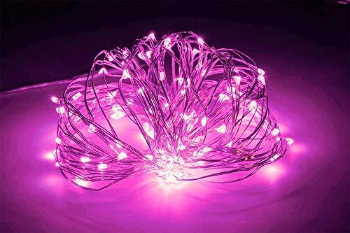 10 M 100 lampjes USB koperdraad lichtslingers, decoratieve verlichting DC5V lichtslingers, led lichtslingers-20 M 200 lichtroze