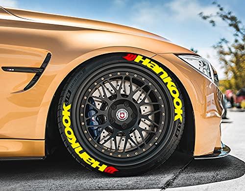 Ps1 Hankook - Juego de 8 pegatinas para neumáticos de 14 a 22 pulgadas, color amarillo