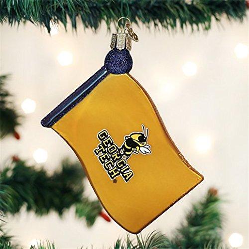 Old World Weihnachten Georgien Institute of Technology Glas geblasen Ornament Flagge Georgia Tech Yellow Jackets