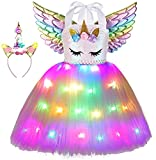 Unicorn Tutu Costume for Girls,Unicorn Birthday Party Outfit Princess Dress Costume with Wings (5-6 Years, Rainbow)