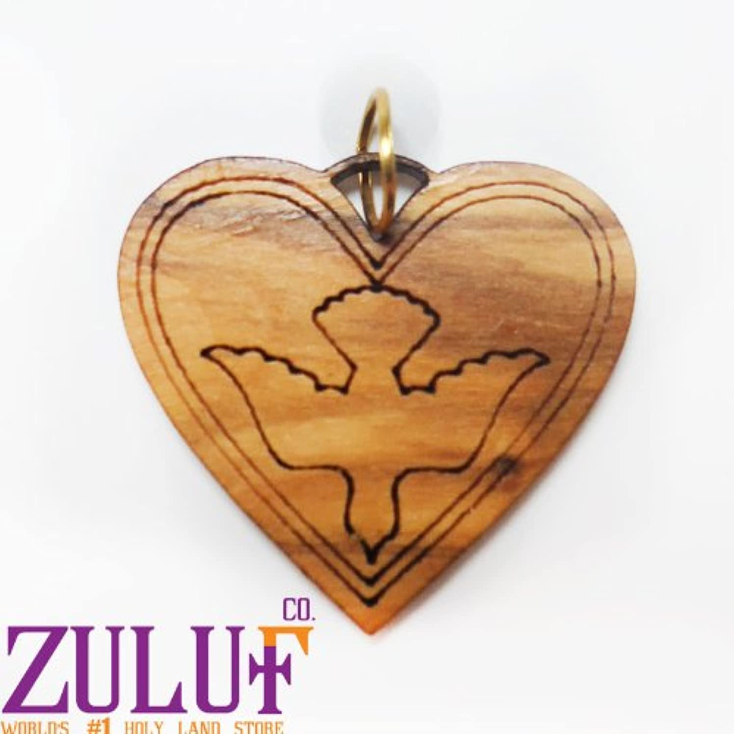 Heart Charm Dove Carved Pendant Necklace Hand Made Laser Carved