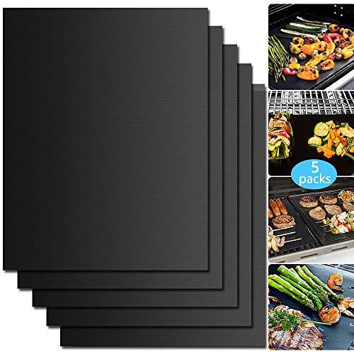 WesKimed Tappetini da Barbecue Set di 5 Mat Cottura BBQ in Teflon Approvati da FDA Antiaderenti Riutilizzabili Resistenti a Temperatura Alta Adatti per Griglia a Gas Carbone Forno e Griglia Elettrica