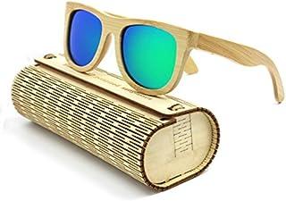TT WARE Unisex Handmade Bamboo Legs Polarized Sunglasses Outdoor UV Protaction Colorful Lens Eyewear Glasses-Green