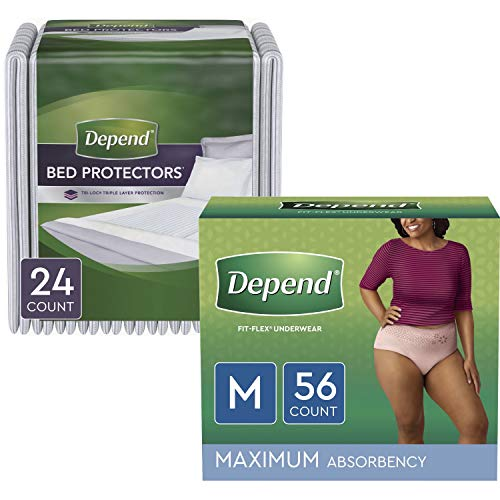 Depend Around The Clock Protection Package: Fit-Flex Incontinence Underwear for Women (Size M, Blush, Maximum Absorbency, 56ct) & Overnight Bed Pads/Underpads (Disposable, 24ct)