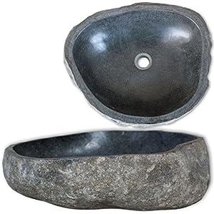FAMIROSA Lavabo de Piedra Natural Ovalado 30-37 cm