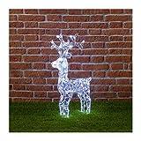 Renna con cristalli, 100 led bianco freddo, H70 cm, renne luminose per esterno, decorazioni di natale, luci natalizie, figure luminose