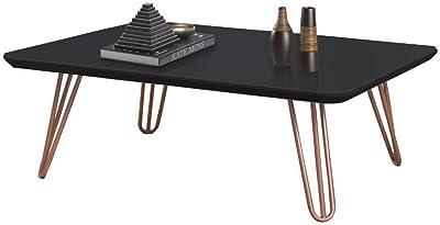 Mesa de Centro Preto com Pés de Metal Cobre 40x70 cm