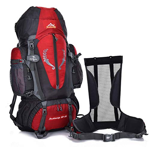Phil Beauty Sports Outdoor Backpack Backpack 80L Large Capacity Encrypted Nylon Waterproof Travel Bag Detachable Carrying System Comfortable And Breathable for Men And Women, Red