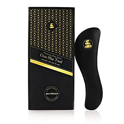 "AVROX 7"" Bian Stone Gua Sha massage Tool: IASTM Tool for Myofascial Release| Heavy, Easy Grip Stone Guasha Board Facial Massager/Neck, Back & Leg Pain"
