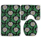 Beck Roy Conjuntos de alfombras de baño 3 Piezas Flores de Mano Verdes Alfombrillas de baño Alfombra de Contorno en Forma de U Alfombrilla Set de Tapa de Inodoro