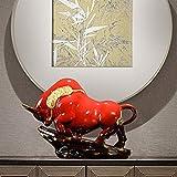 NYKK Estatua de Mesa Creative Lucky Wind Buffalo Muebles Animal Bully Mascot Office Sala de Estar Muebles de la compañía Escultura de Interior (Color : Red)