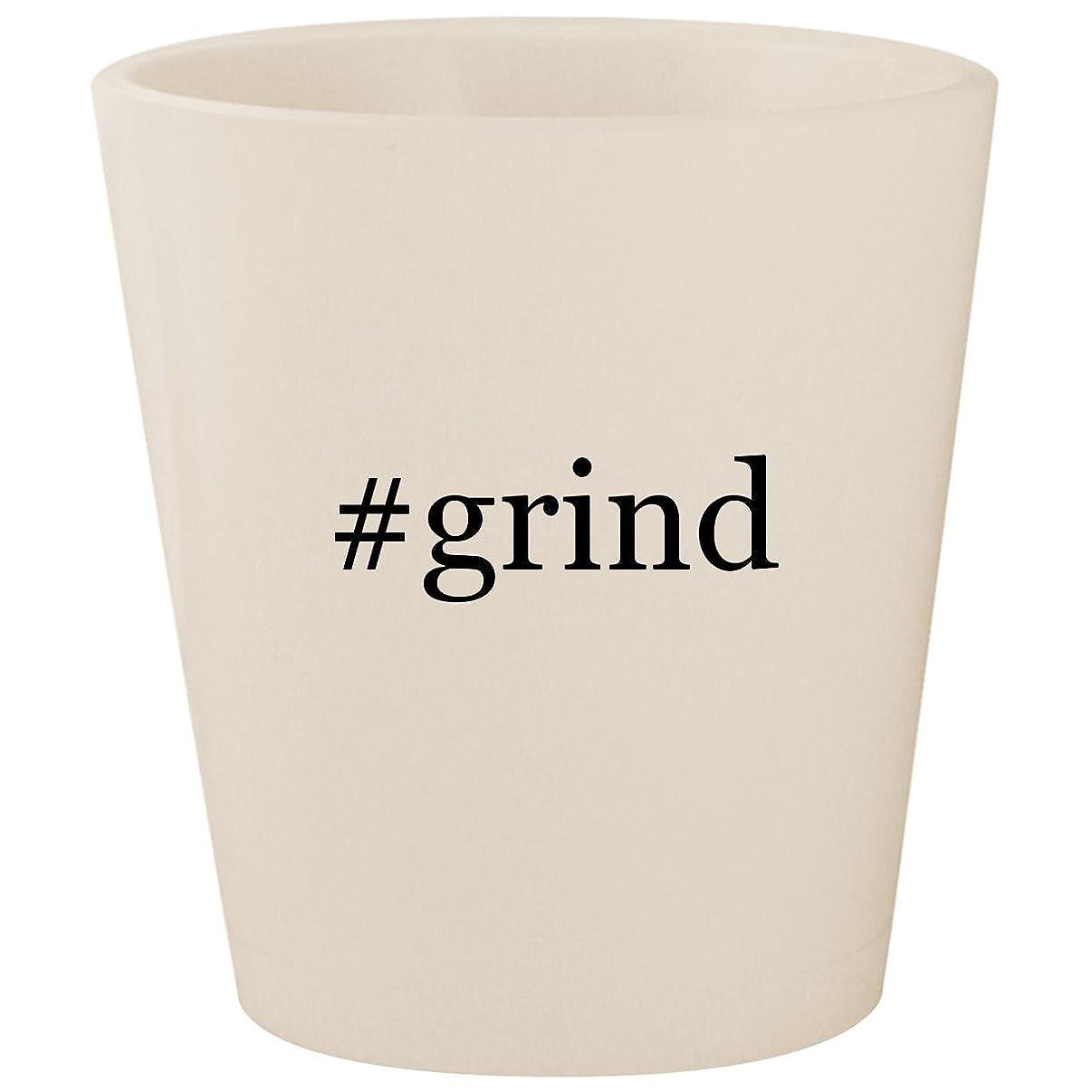 #grind - White Hashtag Ceramic 1.5oz Shot Glass