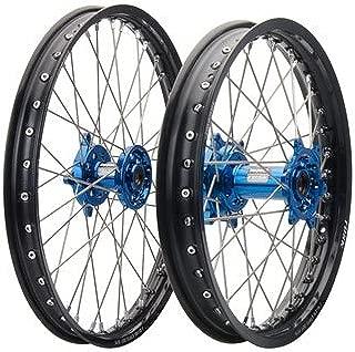Impact Complete Front/Rear Wheel Kit 1.60 x 21/2.15 x 19 Black Rim/Silver Spoke/Blue Hub for Yamaha YZ250 2002-2019