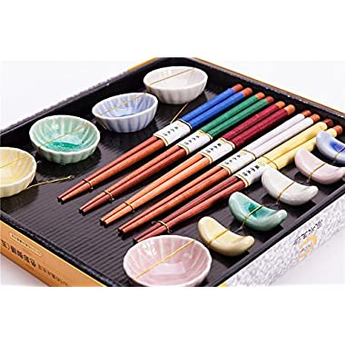 15 Pcs Set Of 5 Pairs Natural Wood Chopsticks, 5 Ceramic holders and 5 Saucers In Various Colors, Gift Box