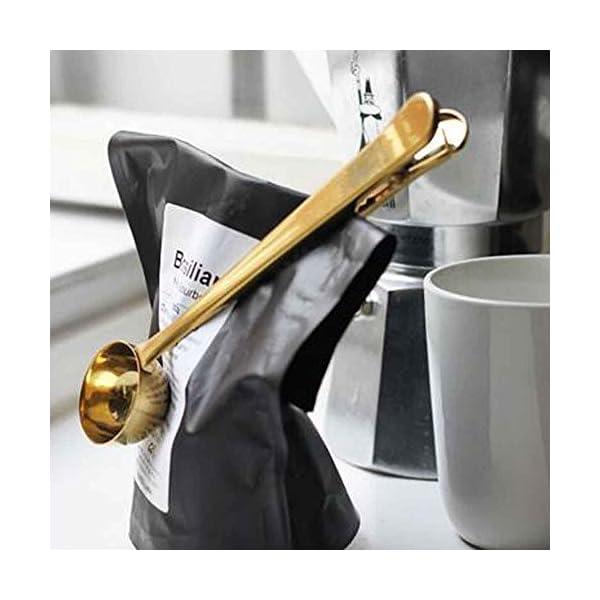 Coffee Scoop Clip 2 Pack Gold Spoon