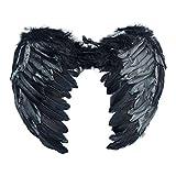 Feather Angel Wings Christmas Halloween Fancy Dress Costume, Black, Size 6545CM