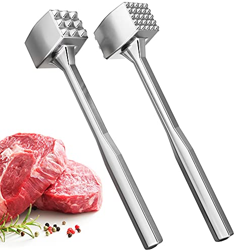 Meat Tenderizer Aluminium Meat Mallet - Dual-Sided Meat Tenderizer Tool Kitchen Meat Pounder- Home Meat Hammer for Tenderizing Ice Steak - Stainless Veal & Chicken Safe Meat Beater 1309479