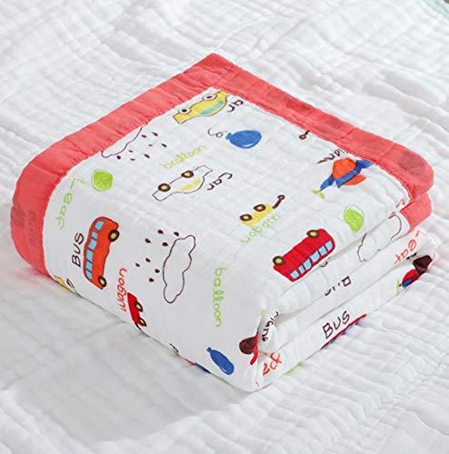 Mentalism Toalla de baño de gasa de algodón de color rojo, estampado de alta densidad, 6 capas, diseño de dibujos animados, multicolor, con dobladillo, tamaño 110 x 110 cm, 2 unidades