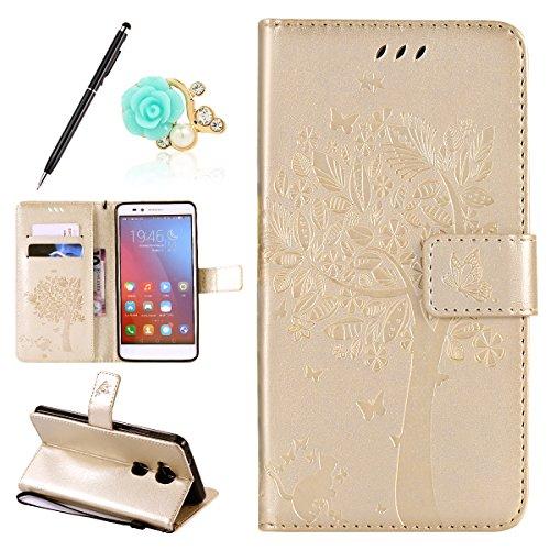 Uposao Kompatibel mit Huawei Honor 5X Handyhülle Schutzhülle Handytasche Lederhülle Flip Tasche Case Leder Hülle Schmetterling Blume Muster Retro Ledertasche Brieftasche Hülle,Gold