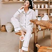 レディースパジャマ、女性用ボタンアップPJ、フランネルコットンパジャマセット、レディースホームウェア,2,L