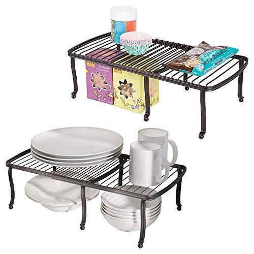mDesign Estante para platos extensible – Ingenioso almacenaje de cocina para platos y tazas – Duplica el espacio - Platero adaptable a los armarios – Color: Bronce - Paquete de 2