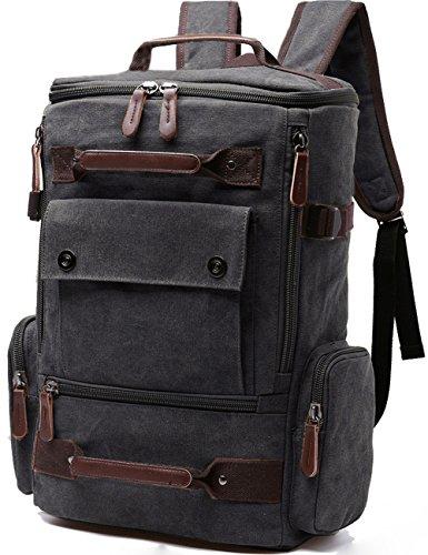 Aidonger Vintage Canvas Backpack Laptop Backpack Weekend Backpack (Black)