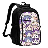 asfg Resistente a Las Manchas Cute Cat Many Multifunctional Personalized Customized USB Backpack, Student School Outdoor Backpack,Travel Bag Laptop Bookbags Business Daypack.