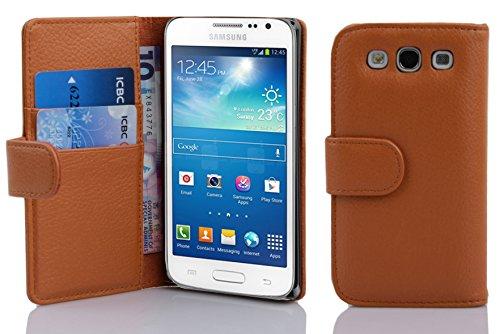 Cadorabo Funda Libro para Samsung Galaxy Express 2 en MARRÓN Cognac - Cubierta Proteccíon de Cuero Sintético Estructurado con Tarjetero y Función de Suporte - Etui Case Cover Carcasa