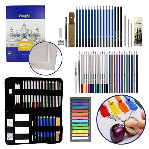 CASHWER Lápices Colores Profesionales de Dibujo 66 Piezas Estuche Set de Pintura...