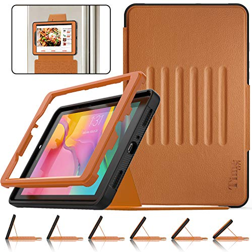 Timecity Tablet Case for Galaxy Tab A8 (Fit SM-T290/T295/T297 2019 Release), Three-layer Protection Rugged Shockproof Tablet Protective Cover with Magnetic Stand and Card Holder, Black/Brown