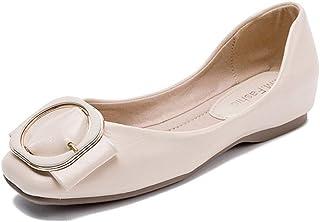 Women's Flat Loafer, Shallow Casual Office Schoenen Slip-On Lederen Walking Pumps Sandalen,Beige,39EU