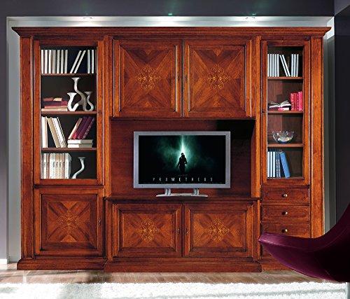 Sistema de almacenaje para Salones, Estilo Clasico, en Madera Maciza y MDF con Acabado Bassano - Medidas 298 x 56 x 237 …