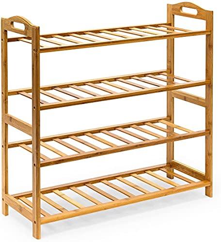 Unibos Bamboo Shoe Footwear Rack Stand Shelf Unit Organiser Wooden Storage Shelves for Entryway, Living Room, Hallway 67x24x73cm