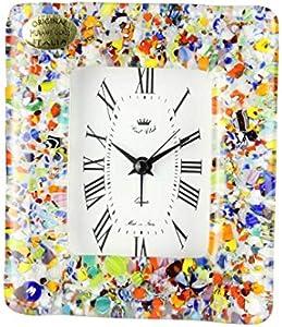 Reloj despertador de mesa blanco con mezcla Millefiori – Original Murano Glass Watch