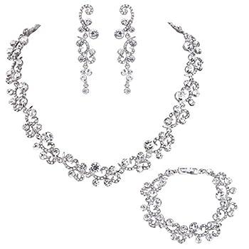 EVER FAITH Women s Austrian Crystal Wedding Flower Wave Necklace Earrings Bracelet Set Clear Silver-Tone